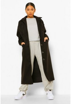 Black Petite Pocket Detail Maxi Wool Look Coat