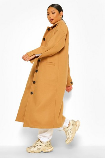 Camel beige Petite Pocket Detail Maxi Wool Look Coat
