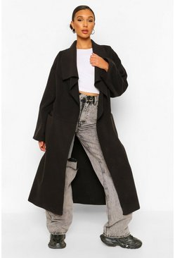 Black Petite Waterfall Maxi Wool Look Coat