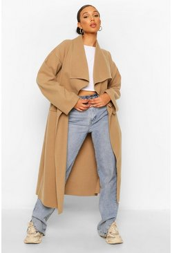 Camel beige Petite Waterfall Maxi Wool Look Coat