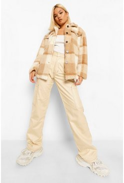 Ivory white Petite Check Teddy Shacket