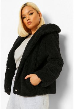Black Petite Hooded Teddy Jacket