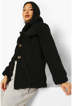 Black Petite Pocket Front Teddy Jacket