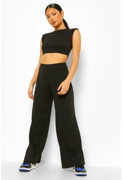 Black Petite Shoulder Pad Crop And Wide Leg Jogger