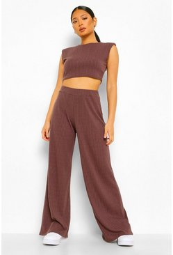 Chocolate Petite Shoulder Pad Crop And Wide Leg Jogger