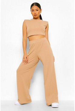 Stone Petite Shoulder Pad Crop And Wide Leg Jogger