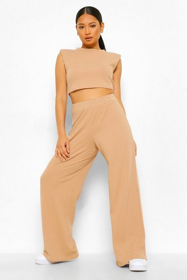 Stone beige Petite Shoulder Pad Crop And Wide Leg Jogger