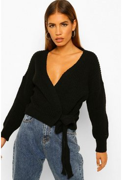 Black Petite Tie Side Edge To Edge Cardigan