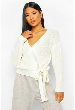 Cream white Petite Edge To Edge Cardigan Met Strik