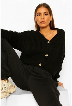 Petite V Neck Fisherman Knit Cardigan, Black negro