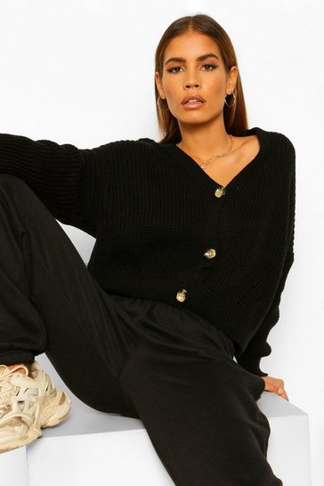 Black Petite V Neck Fisherman Knit Cardigan