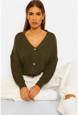 Khaki Petite V Neck Fisherman Knit Cardigan