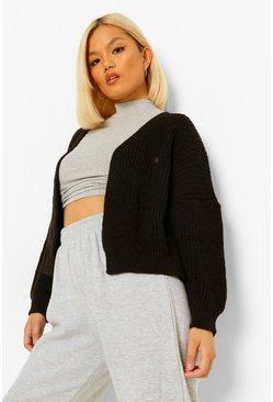 Black Petite Fray Detail Fisherman Knit Cardigan