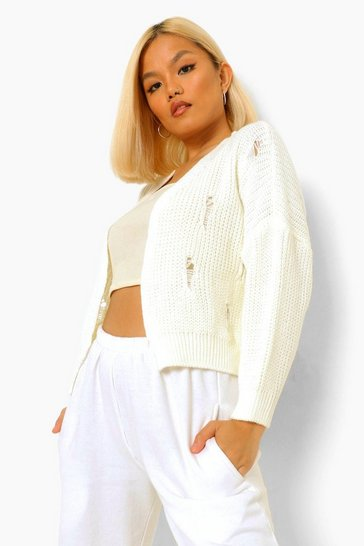 Cream white Petite Fray Detail Fisherman Knit Cardigan
