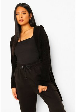Black Petite Chunky Knit Hooded Midi Cardigan