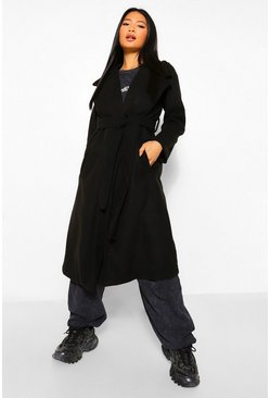 Black Petite Longline Wool Look Belted Coat