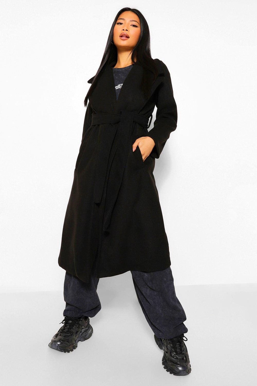 COATS & JACKETS Petite Longline Wool Look Belted Coat