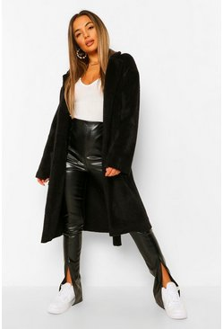 Black Petite Belted Longline Brushed Wool Look Coat