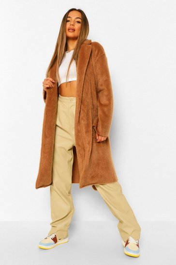 Camel beige Petite Belted Longline Brushed Wool Look Coat