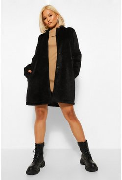 Black Petite Brushed Wool Look Coat