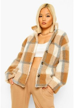 Camel Petite Check Shirt Jacket