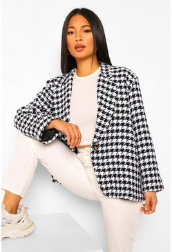 Black Petite Geweven Oversized Dogtooth Blazer