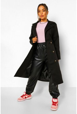 Black Petite Belted Trench Coat