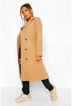 Camel beige Petite Belted Trench Coat