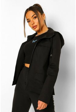 Black Petite Pocket Front Parka Coat
