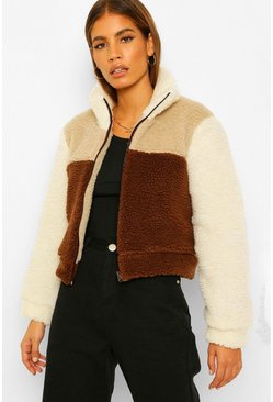 Brown Petite Colour Block Teddy Coat