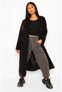 Black Petite Belted Wool Look Maxi Coat