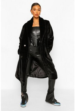 Black Petite Faux Fur Button Front Coat