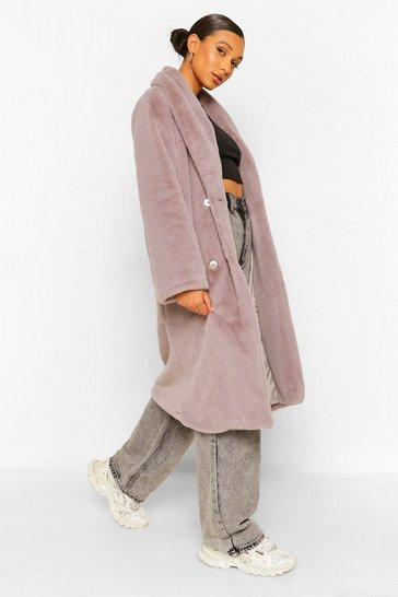Grey Petite Faux Fur Button Front Coat
