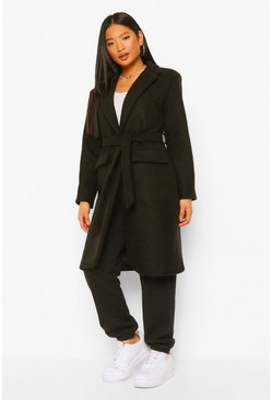 Black Petite Belted Button Up Wool Look Coat