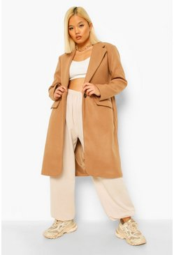 Camel beige Petite Belted Button Up Wool Look Coat