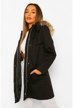 Petite Faux Fur Hooded Parka, Black negro