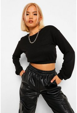 Black Petite Knitted Elasticated Sweatshirt