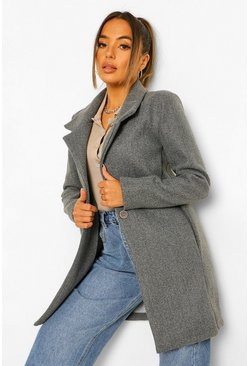 Grey Petite Button Front Wool Look Coat