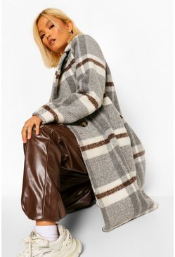 Grey Petite Check Wool Look Coat