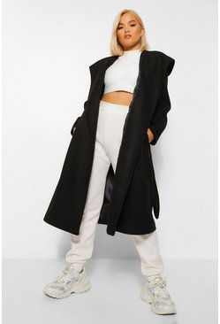 Black Petite Belted Hooded Wool Look Coat