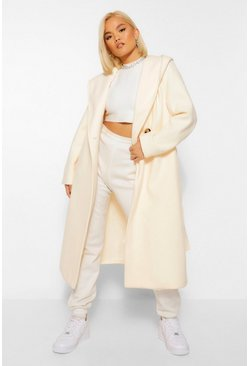 Petite Belted Hooded Wool Look Coat, Ivory blanc