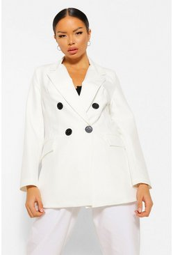 Ivory white Petite Double Breasted Contrast Button Blazer