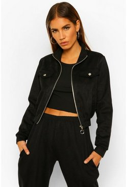 Black Petite Cropped Suede Jacket
