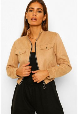Stone beige Petite Cropped Suede Jacket