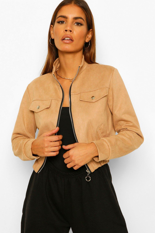 COATS & JACKETS Petite Cropped Suede Jacket