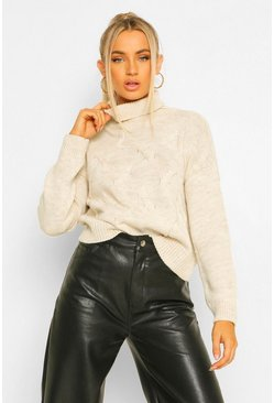 Beige Petite Roll Neck Cropped Jumper