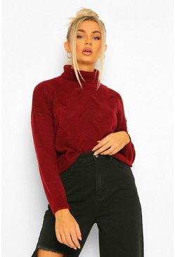Berry red Petite Roll Neck Cropped Jumper