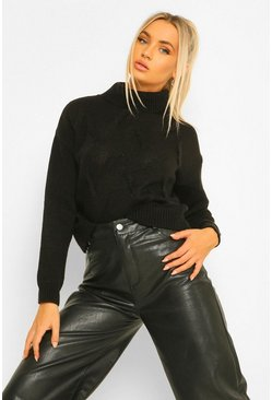 Black Petite Turtleneck Cropped Sweater
