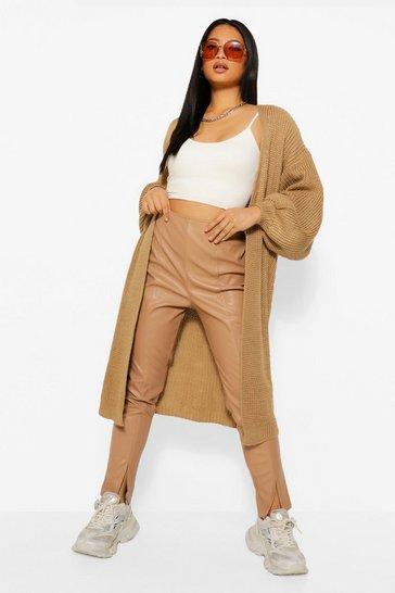 Stone beige Petite Oversized Chunky Knit Maxi Cardigan