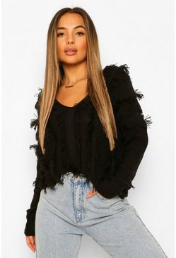 Black Petite Fringe Detail V-Neck Jumper